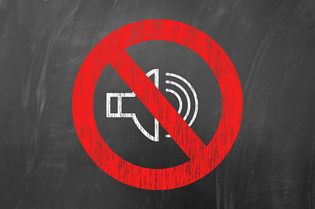 No sound No sound concept on blackboard button sewing item stock pictures, royalty-free photos & images