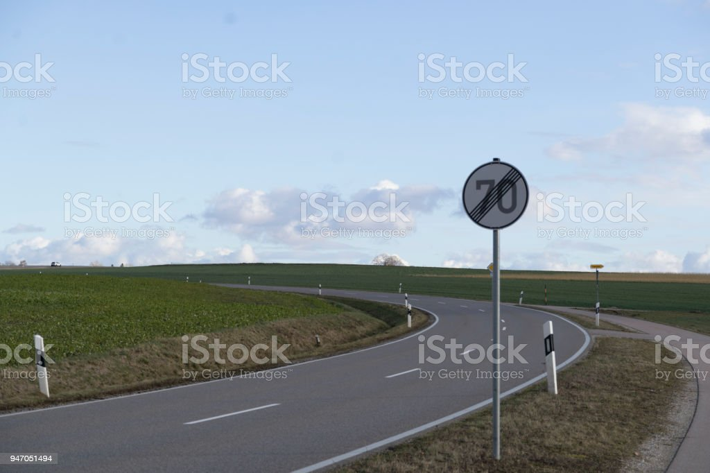 No speed limit sign Germany stock photo