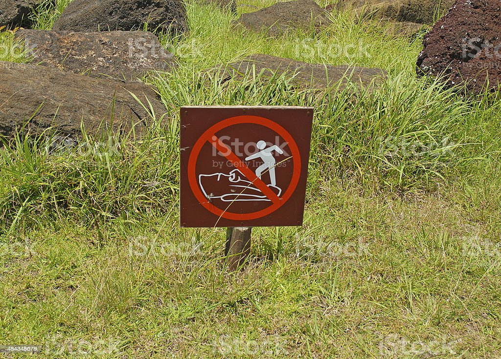 No Stepping on the Moai Sign, - Easter Island, Chile royalty-free stock photo