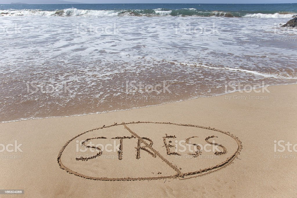 'No stress' written in the sand on a Hawaii beach. royalty-free stock photo