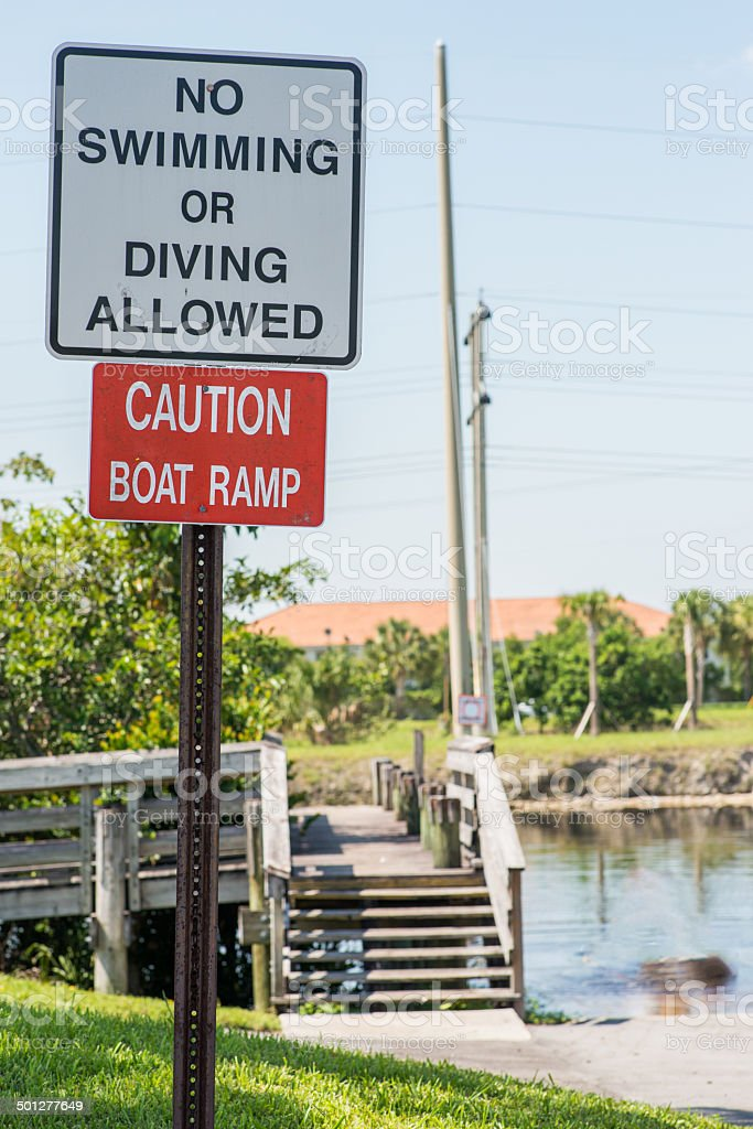 No Swimming or Diving Sign stock photo