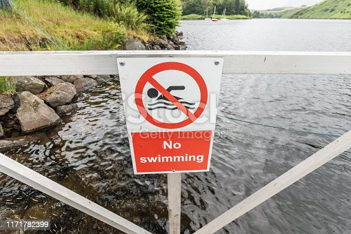 istock No swimming sign at a boating lake in Wales 1171782399