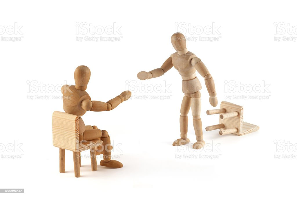No! This argument is not correct -wooden mannequin in discussion royalty-free stock photo