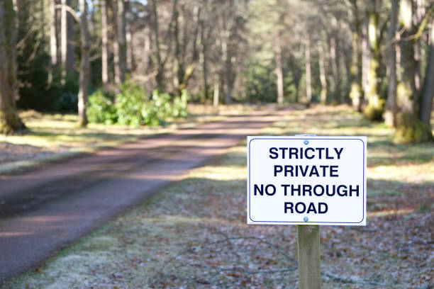 No through road strictly private road sign at entrance to estate grounds of woodlands forest lland andmark stock photo