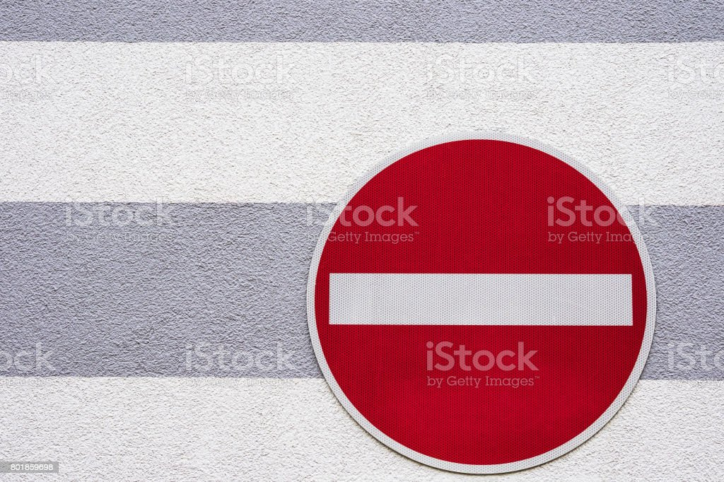 No traffic sign on a house wall stock photo