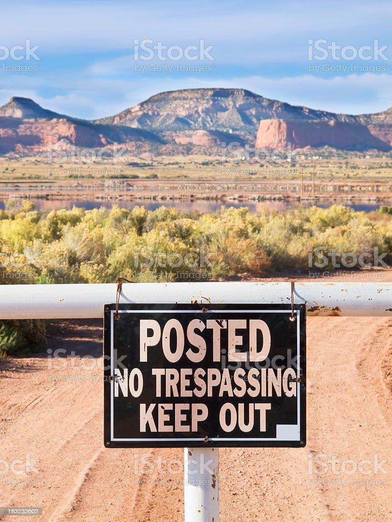 no trespassing desert landscape royalty-free stock photo