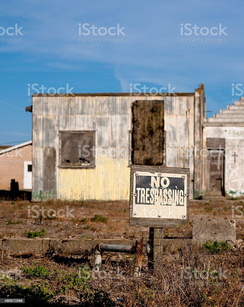 No Trespassing field stock photo