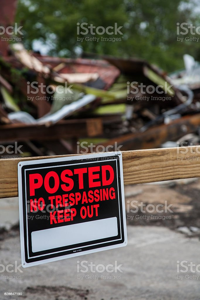 No trespassing on fire site stock photo