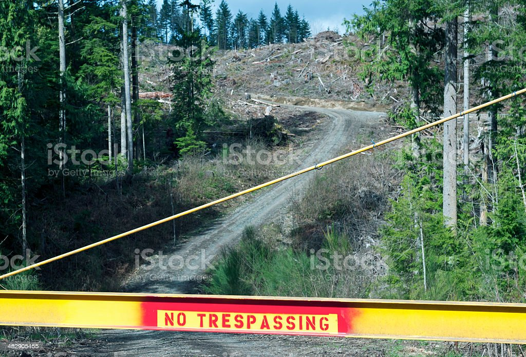 No Trespassing On Timber Land In Washington State Stock