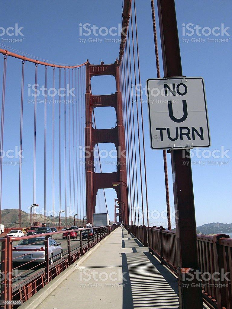 No U Turn on the Golden Gate bridge royalty-free stock photo