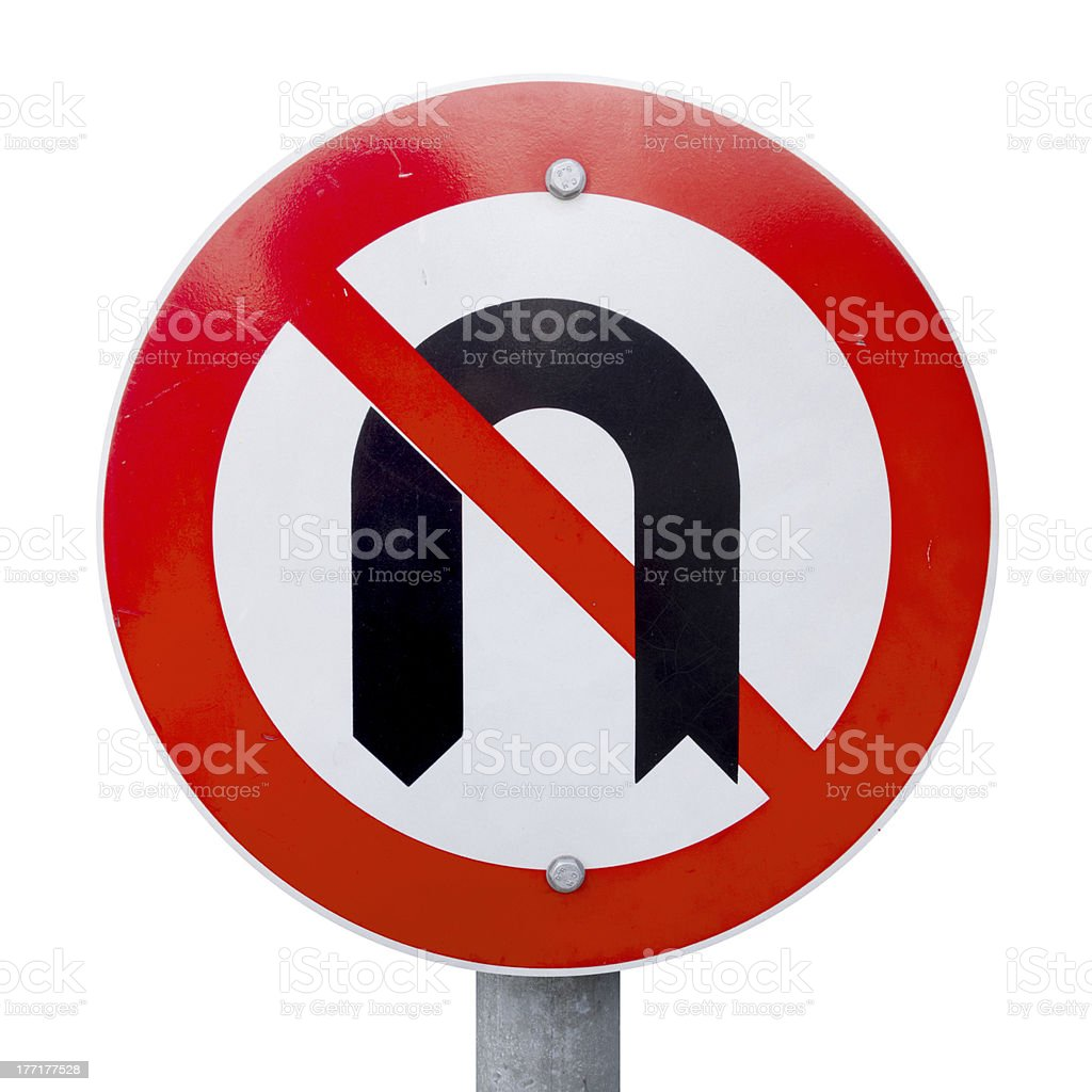No U Turn Sign With Clipping Path royalty-free stock photo