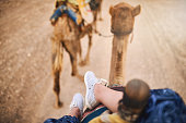 Cropped shot of a woman riding on a camel in a desert