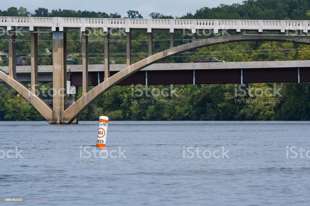 No wake idle speed buoy stock photo