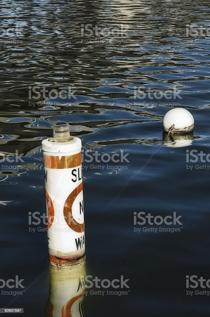 No Wake Zone Buoy royalty-free stock photo