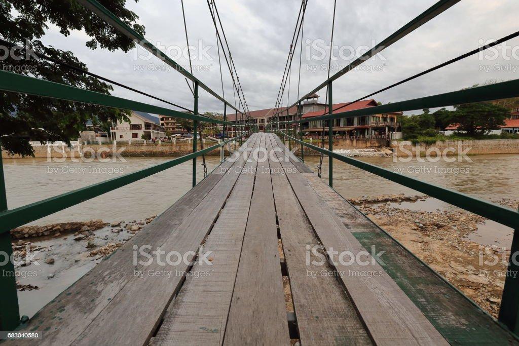 No way out footbridge-Nam Song river. Vang Vieng-Vientiane province-Laos. 4561 foto de stock royalty-free