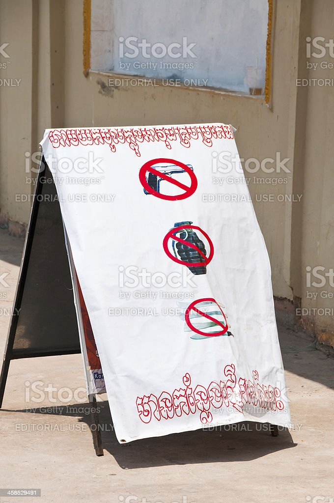 No Weapons Sign Outside A Night Club In Cambodia stock photo