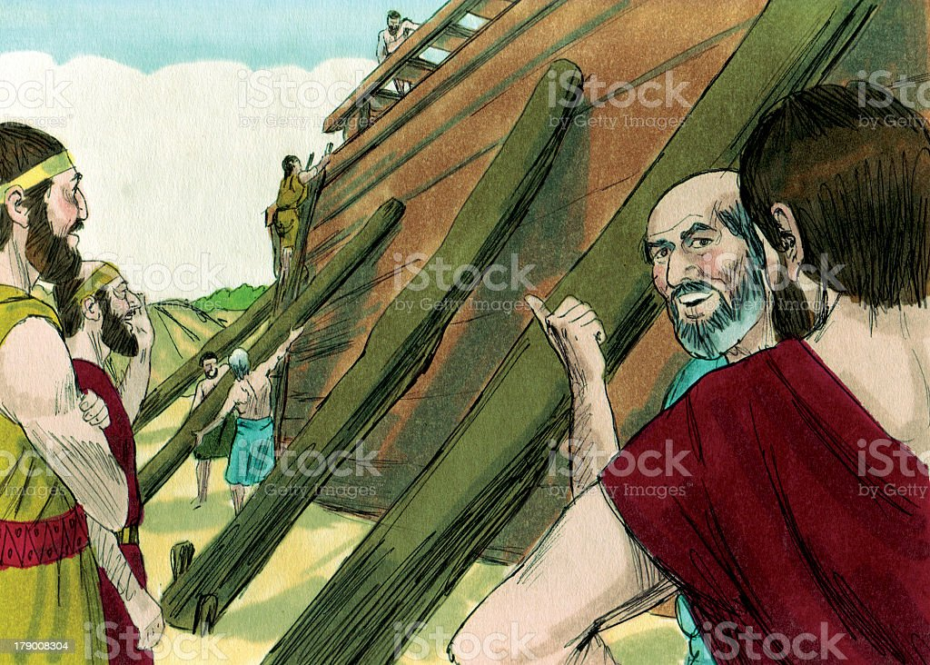 Noah and Boat Directions stock photo