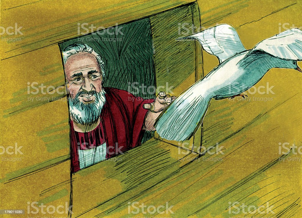 Noah Sends Dove Out stock photo