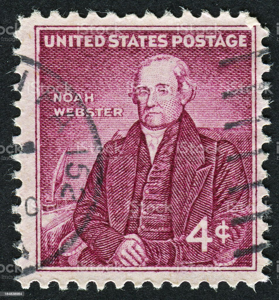 Noah Webster Stamp stock photo