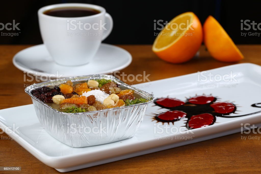 Noah's Pudding is a Turkish dessert ashure, asure stock photo