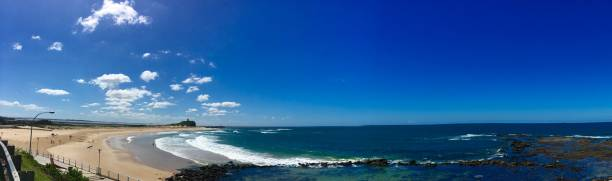 nobbys beach and headland newcastle australia - headland stock pictures, royalty-free photos & images