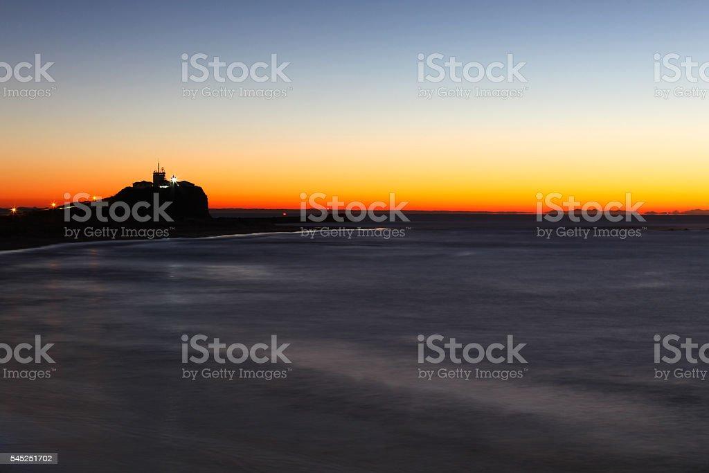 Nobbys Lighthouse at Dawn Newcastle Australia stock photo