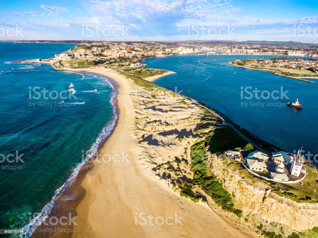 Nobbys Lighthouse overlooking Newcastle, Australia stock photo