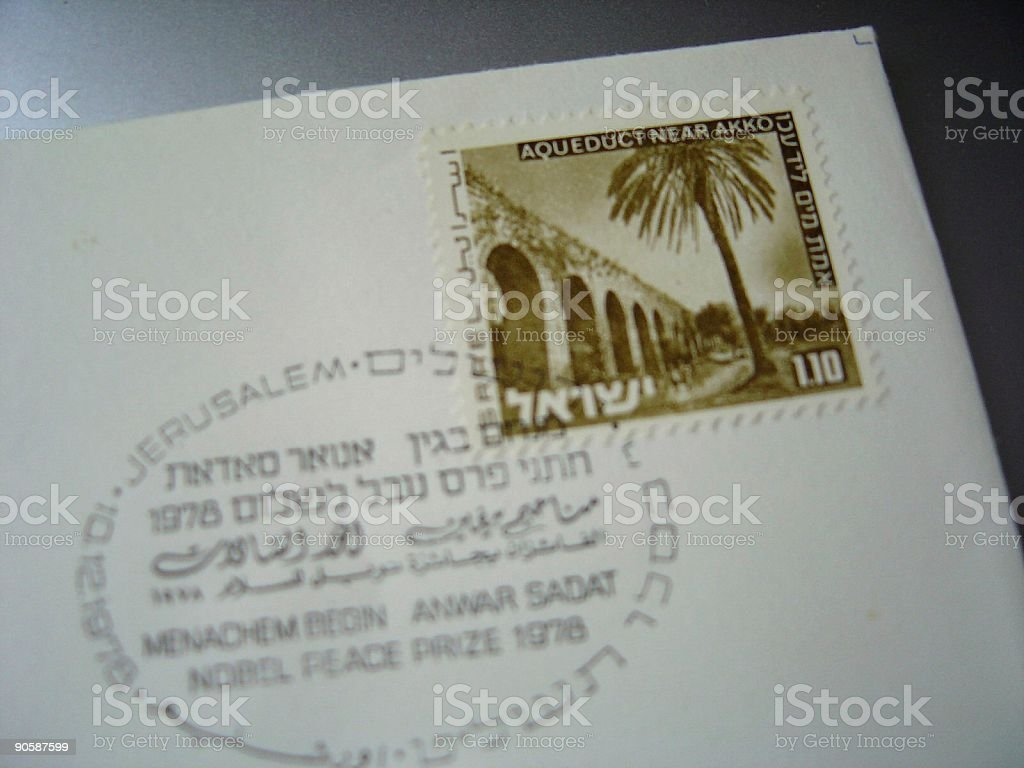 Nobel Peace prize 1978 postal envelope Begin Sadat stock photo