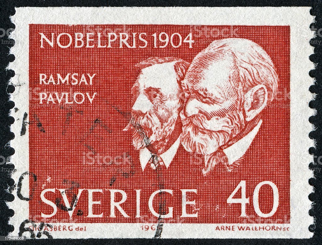 Nobel Prize From 1904 Stamp stock photo