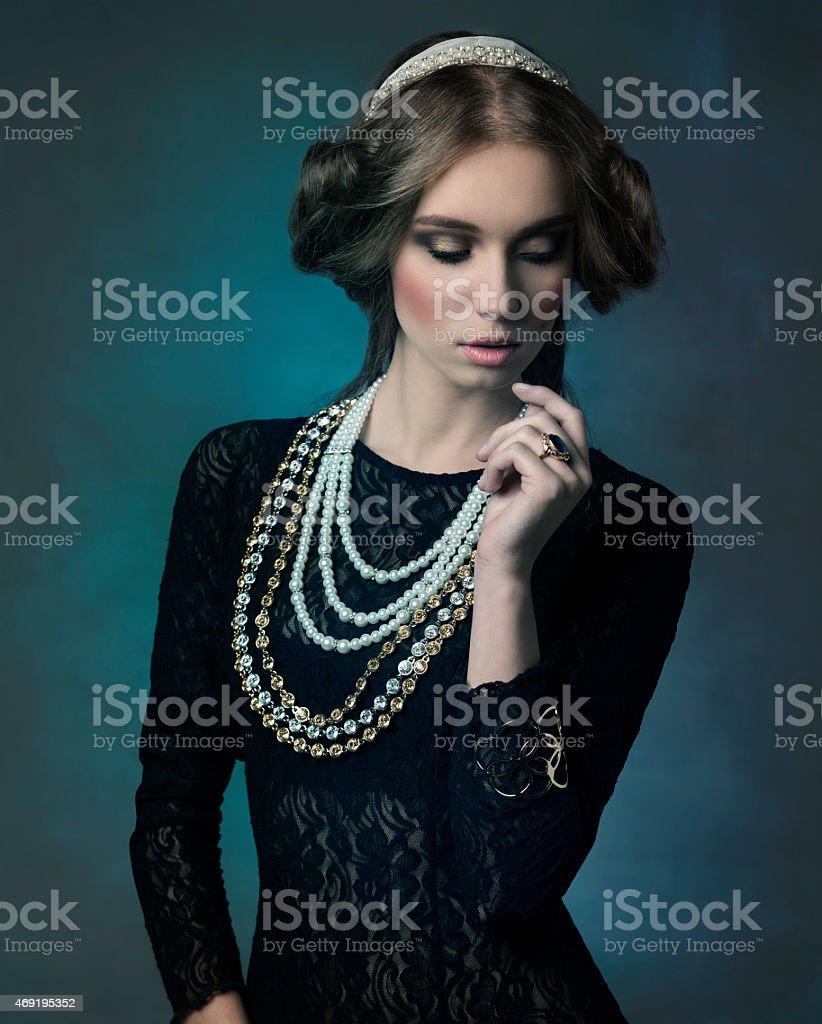 noble antique lady stock photo