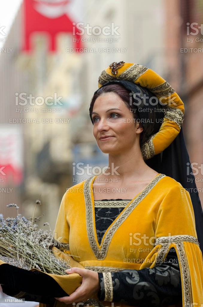 Noblewoman in medieval parade stock photo