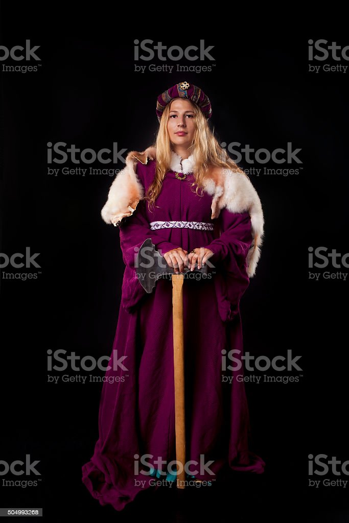 Noblewoman with an axe stock photo