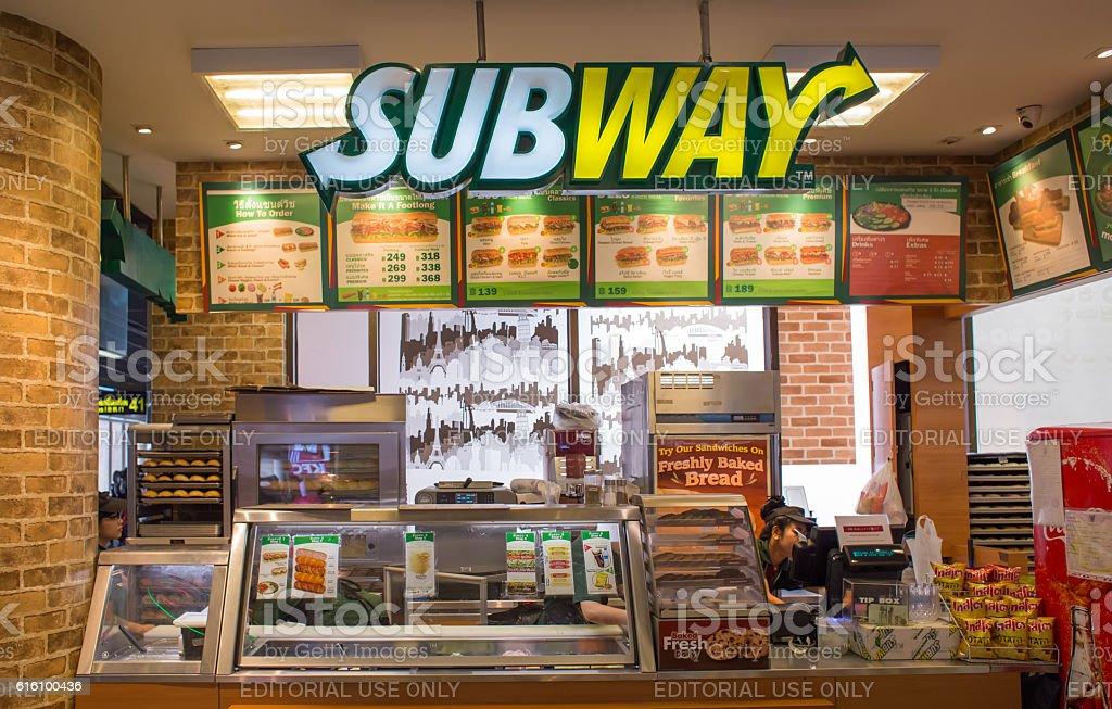 Nobody at Subway sandwich shop stock photo