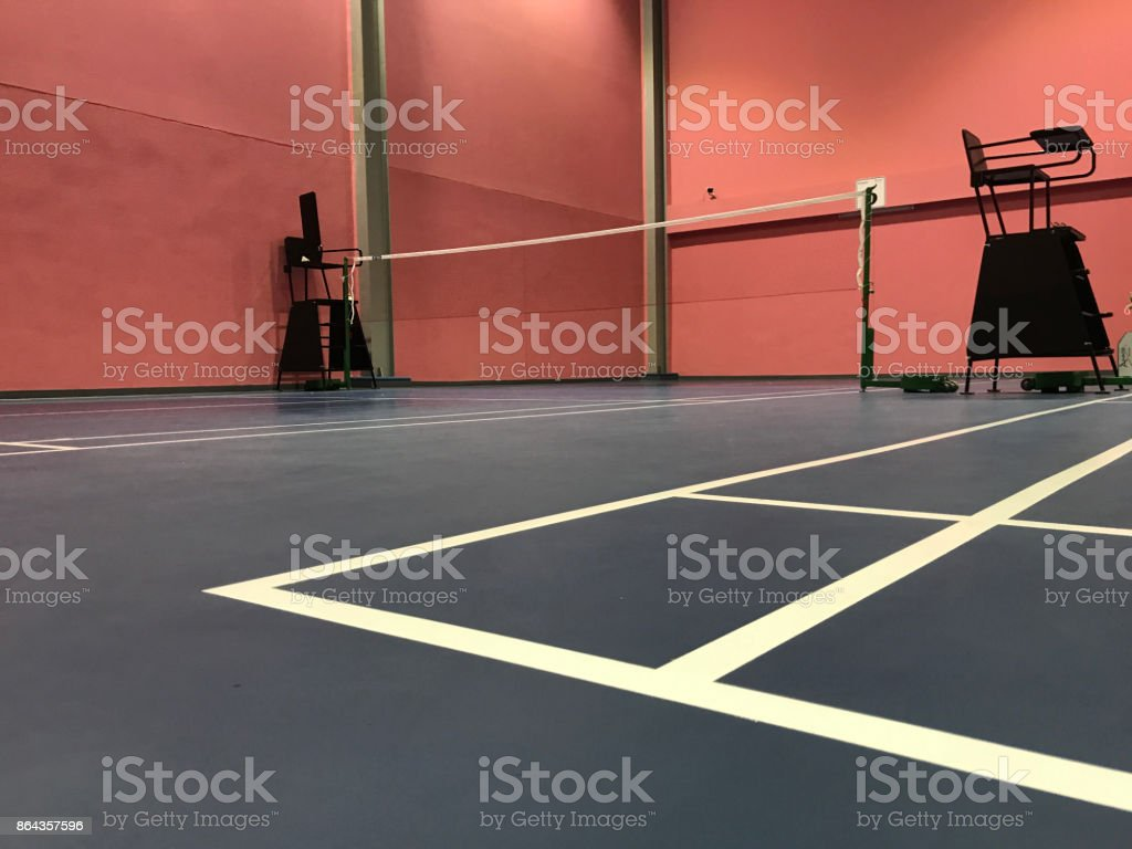 Nobody in Badminton court with pink wall stock photo