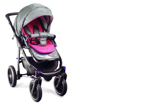 Nobody. Pink baby carriage isolated on white background baby stroller stock pictures, royalty-free photos & images