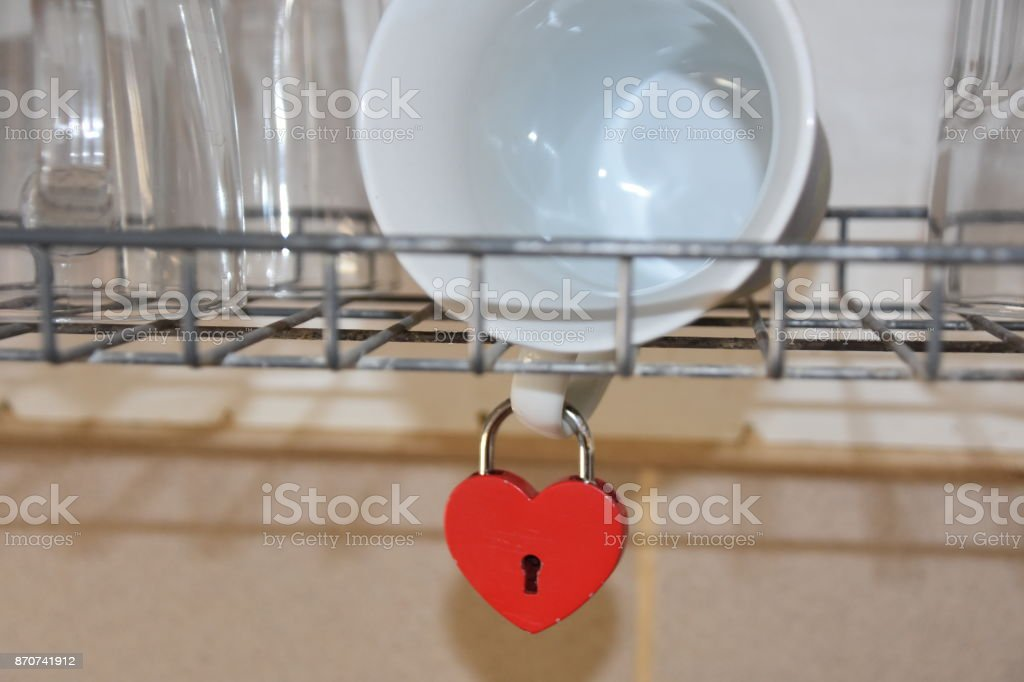 Nobody will use my coffee cup, cup of coffee locked stock photo