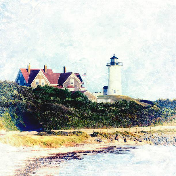 Nobska Lighthouse Cape Cod Massachusetts retro style stock photo