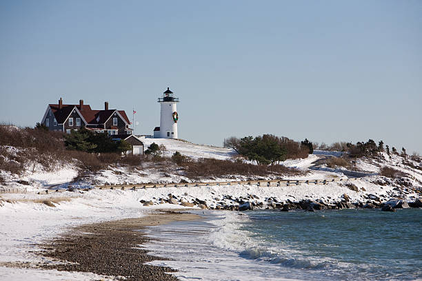Nobska Lighthouse in Winter Nobska Lighthouse in Falmouth on Cape Cod cape cod stock pictures, royalty-free photos & images