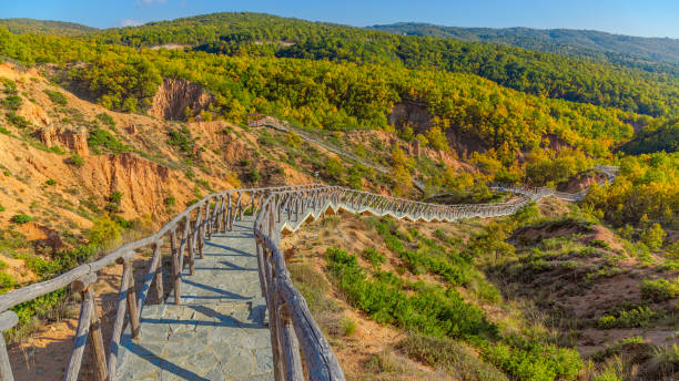 Nochtaria and Boucharia geological formations in Kozani Geopark, Greece stock photo
