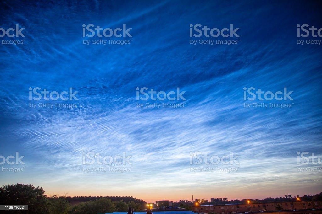 Noctilucent wolken - Royalty-free Avondschemering Stockfoto