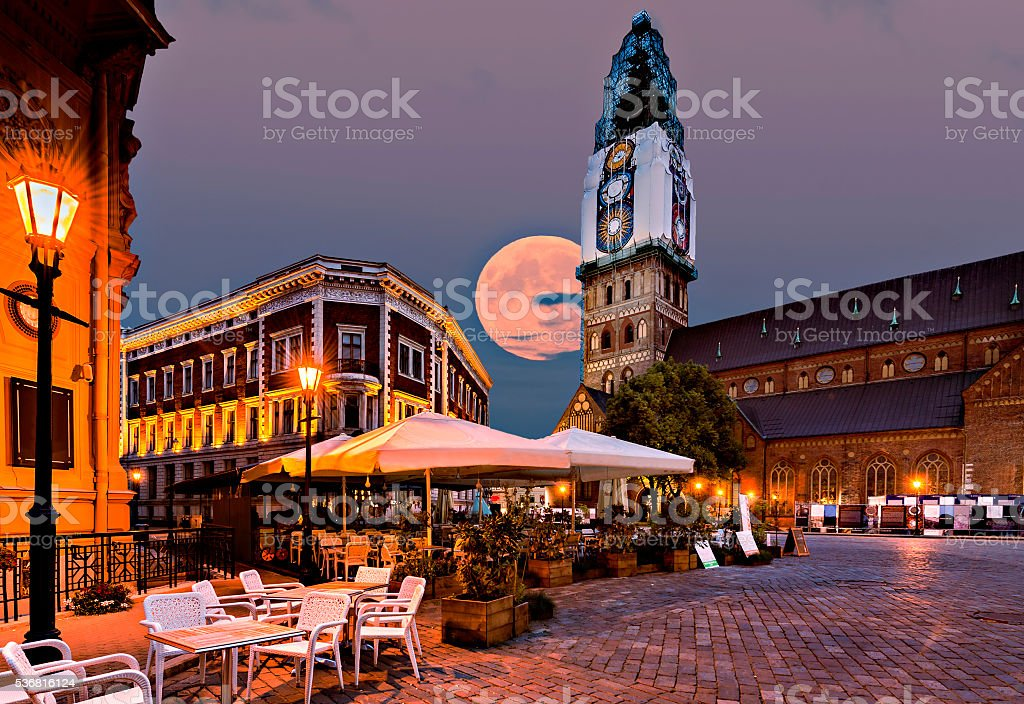 Nocturnal view on  central square in old  Riga, Latvia stock photo