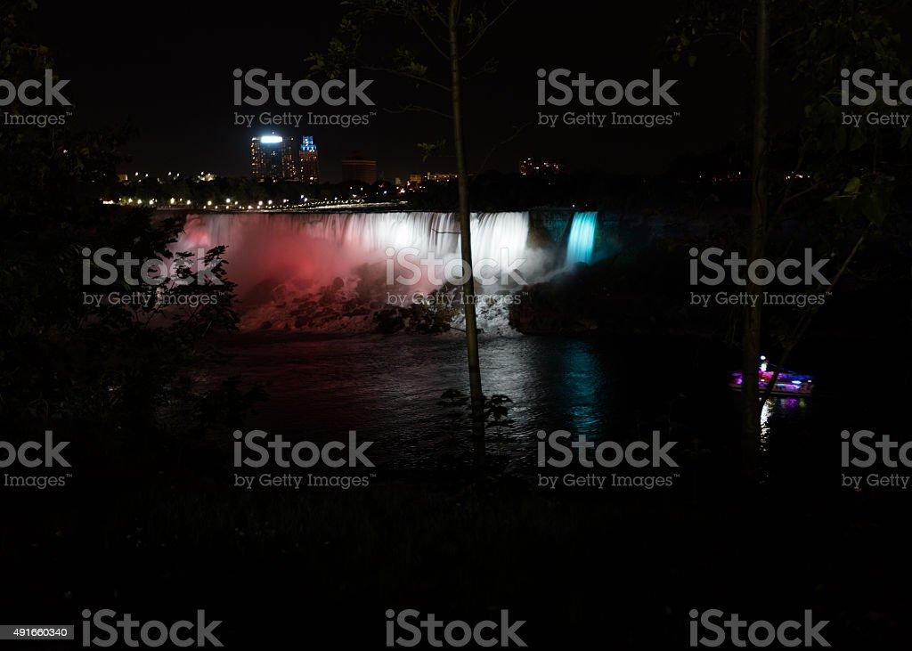 Nocturne of Niagara falls stock photo