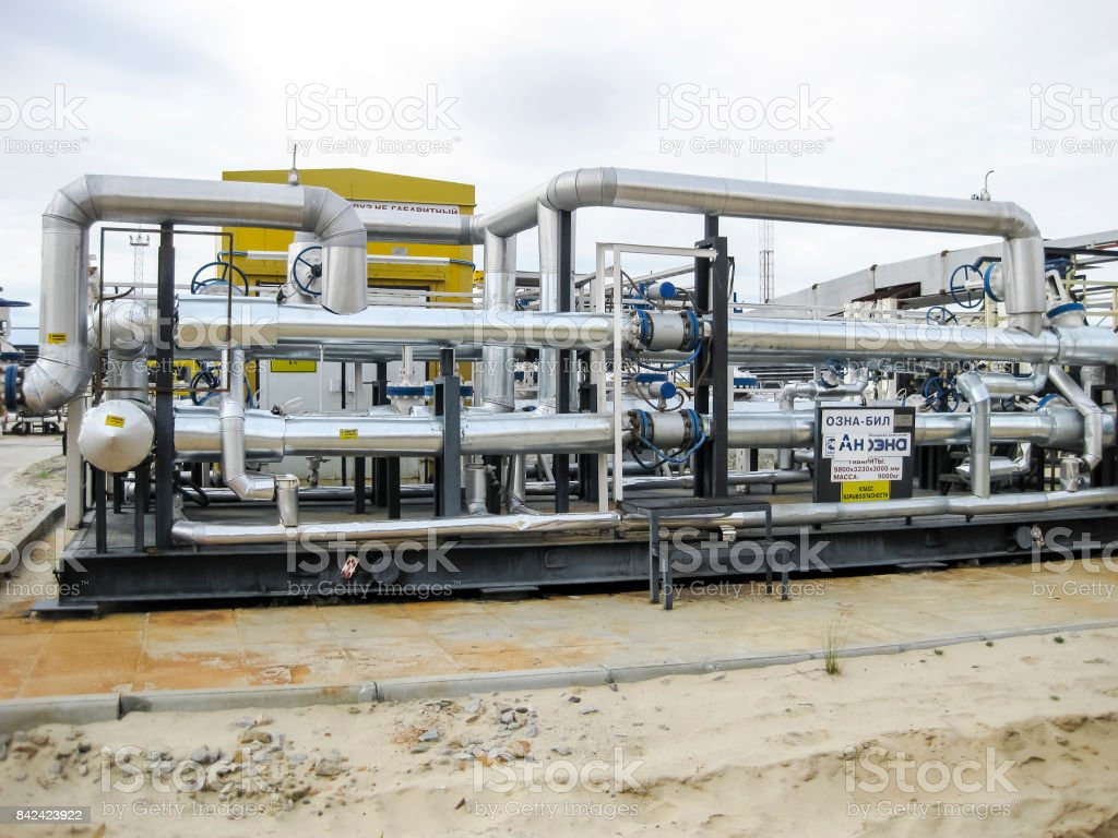Node of accounting for commercial oil. Instruments for controlling the amount of oil passing through. stock photo