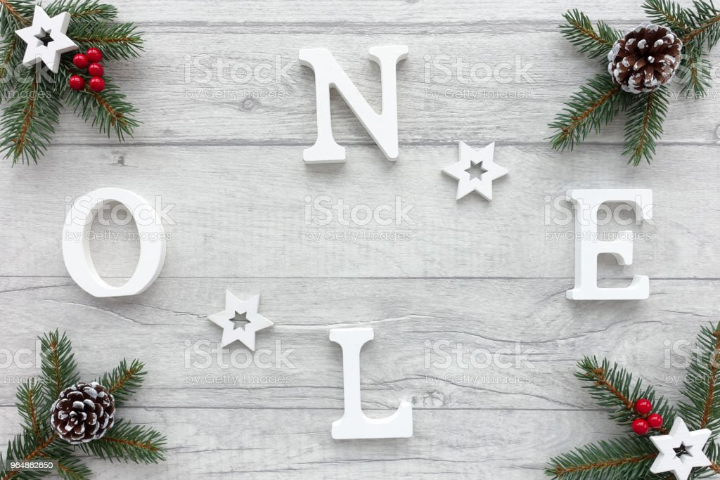 Noel written on Christmas Background with Christmas Decoration royalty-free stock photo