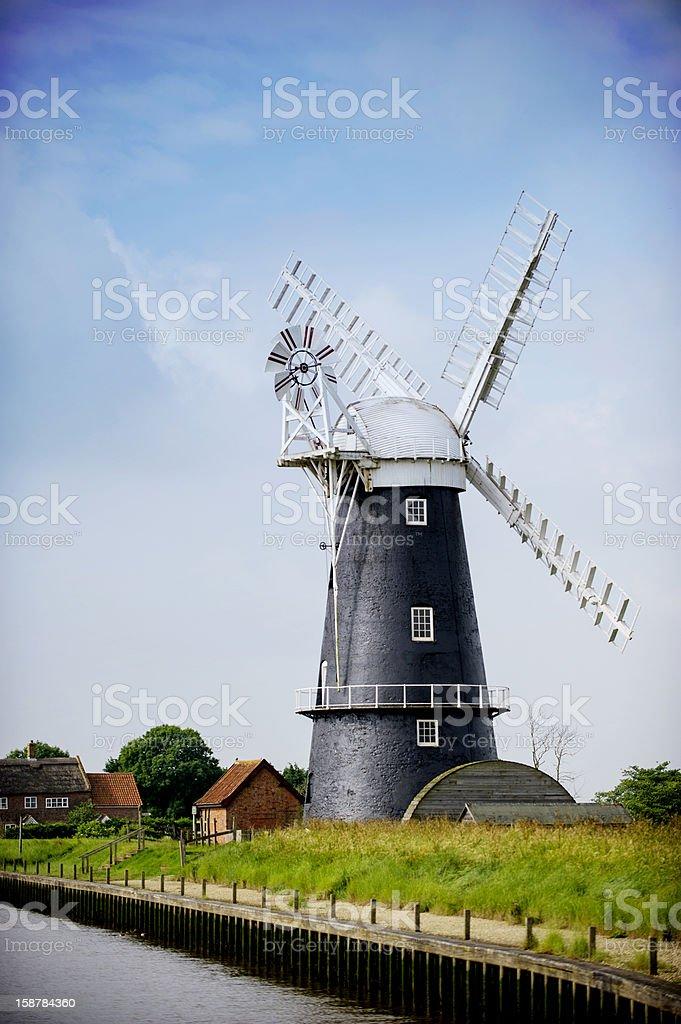 Nofolk Broads black and white windmill stock photo