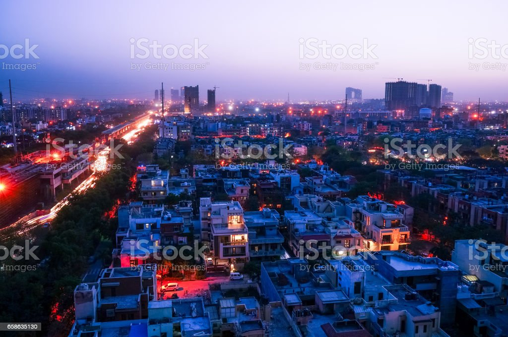 Noida cityscape at night stock photo