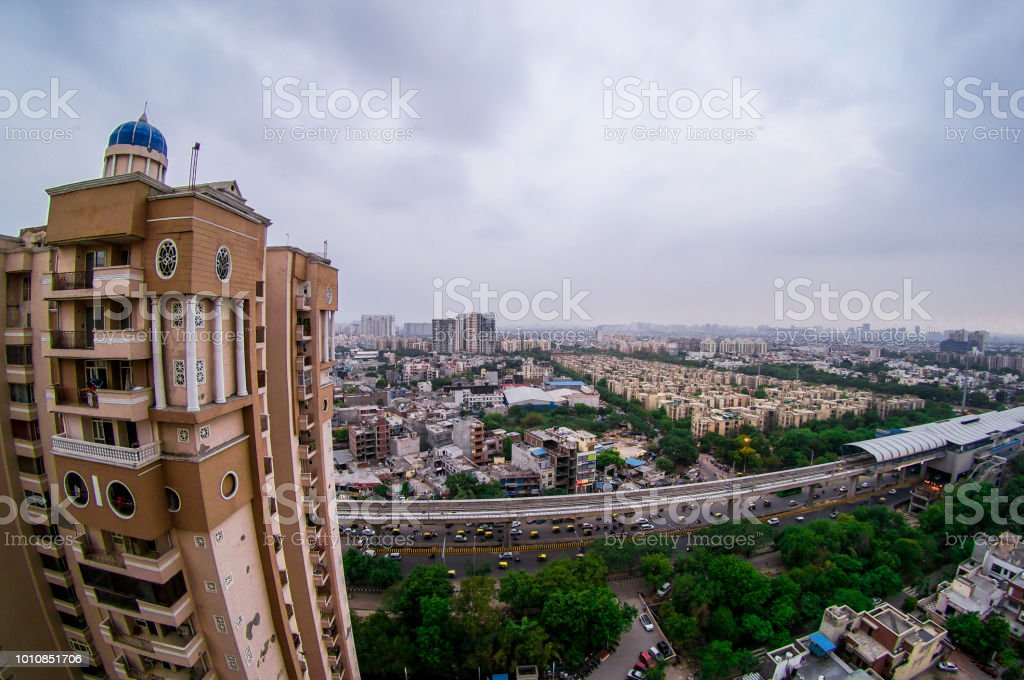 Noida cityscape during dusk blue hour stock photo