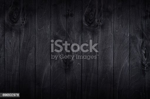 istock Noir elegance black wooden board background. Wood texture. 696502978
