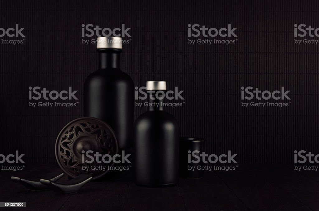 Noir Exquisite Home Decor With Blank Black Cosmetics Bottles Ceramics On Dark Wood Board Mock Up