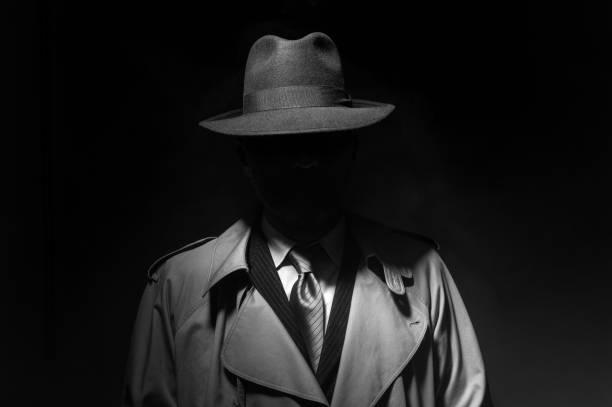 Noir movie character stock photo